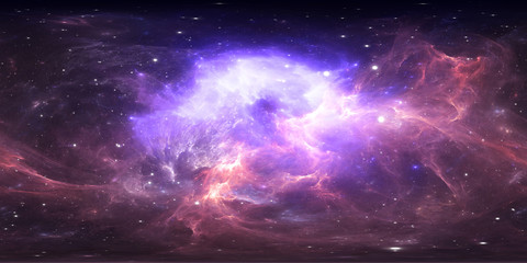 360 degree space nebula panorama, equirectangular projection, environment map. HDRI spherical panorama. Space background with nebula and stars. Wall mural