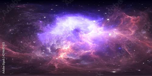 Fototapete 360 degree space nebula panorama, equirectangular projection, environment map. HDRI spherical panorama. Space background with nebula and stars.