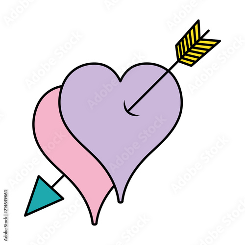 Color Love Hearts Symbol With Arrows Object Stock Image And Royalty