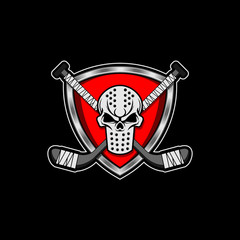 Vector illustration of a hockey mask crest with skull insert hockey sticks blank banner and flourish scroll design elements