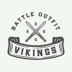 Vintage vikings motivational logo, label, emblem, badge in retro style with quote. Monochrome Graphic Art. Illustration.