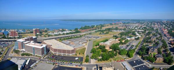Lake Erie and Buffalo City panorama, viewed from Buffalo City Hall, New York, USA.