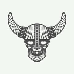 Vintage skull in viking helm in retro style. Monochrome Graphic Art. Vector Illustration.