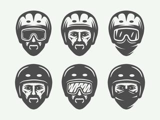 Set of vintage snowboarding, ski or winter head logos, badges, emblems and design elements. Vector illustration. Monochrome Graphic Art.