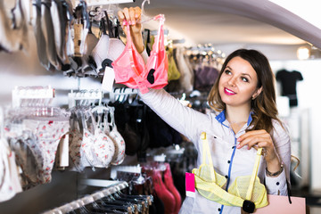 Customer woman in lingerie shop