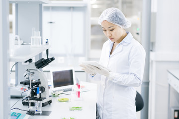 Portrait of Asian female scientist using digital tablet while doing research in medical laboratory, copy space