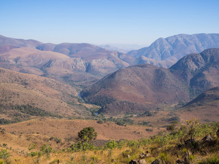 Scenic view of mountains, Malolotja River and dry landscape of Malolotja Nature Reserve, Swaziland, Southern Africa