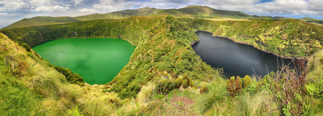 Panoramic view of Lagoa Negra and Lagoa Comprida on the Azores island of Flores
