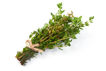 Sprigs of fresh thyme, isolated on white background.