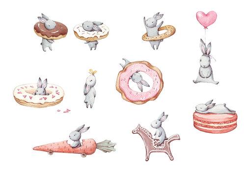 Set of cute cartoon watercolor bunny
