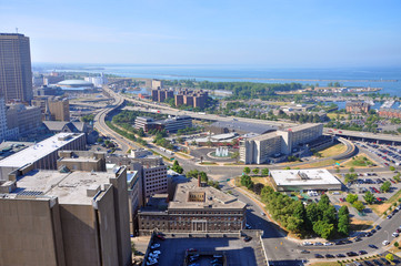 Lake Erie and Buffalo, viewed from Buffalo City Hall, New York, USA.