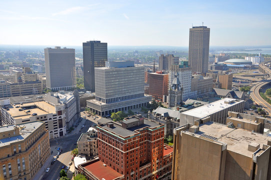 Buffalo City aerial view from the top of the City Hall in downtown Buffalo, New York, USA.