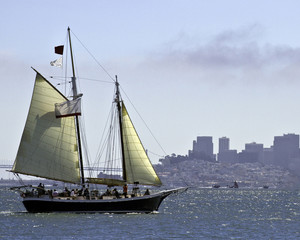 Schooner sailing in San Francisco Bay, Sausilito, California