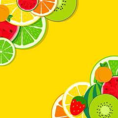 Abstract Mixed Flat Fruit Background Vector Illustration