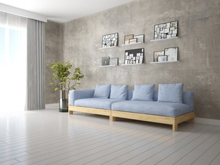 Mock up a perfect living room with a compact fashionable sofa and hipster background.