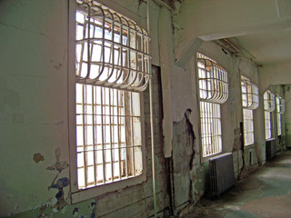 White Prison Wall with Window Grates