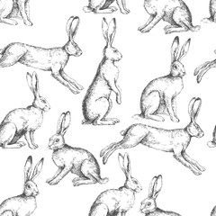 Vector vintage seamless pattern with hares in different actions isolated on white. Hand drawn texture with rabbits in engraving style. Background with sketch of animals