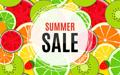 Abstract Summer Sale Background with Fresh Fruits. Vector Illustration
