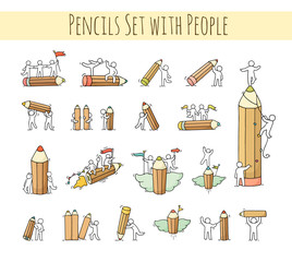 Pencils set with working little people.