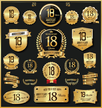 Anniversary retro vintage golden badges and labels vector 18 years