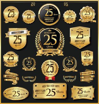 Anniversary retro vintage golden badges and labels vector 25 years