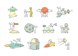 sketch little people with space objects.