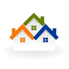 Logo real estate houses icon vector