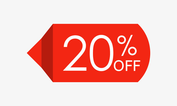 20 percent off. Sale and discount price tag, icon or sticker. Vector illustration.
