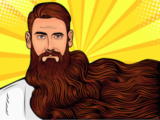 Vector pop art illustration of a brutal bearded man, macho with very long beard over all image - fototapety na wymiar