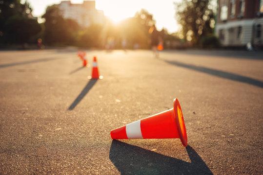 Fallen cone on training ground, driving school