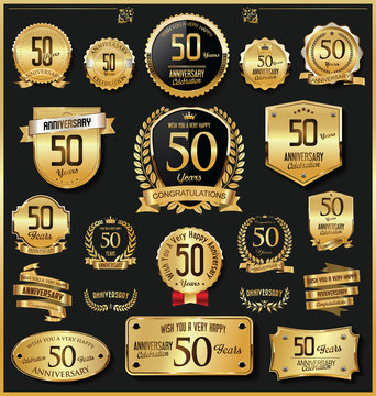Anniversary retro vintage golden badges and labels vector 50 years