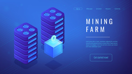 Isometric mining farm landing page concept. Title mining farm, cryptocurrency receiving concept. Blockchain server network on blue violet background. Vector 3d isometric illustration.