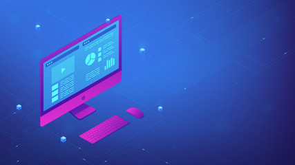 Isometric personal computer with interface data on the screen. PC UI, UX design and application software development. IT business and digital technology concept. Ultraviolet vector 3d illustration.