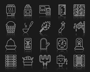 Sauna Equipment simple white line icons vector set