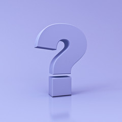 Purple Question Mark on light violet color background with reflection and shadow  3D rendering