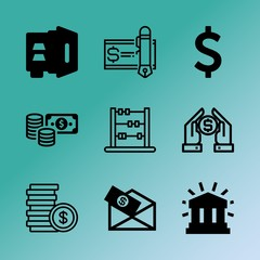 Vector icon set about bank with 9 icons related to success, lock, date, set, save, professional, love, vault, economy and art