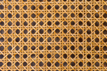Close up of the pattern formed by open weave rattan cane