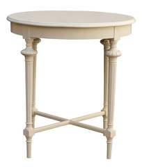 Elegant antique round coffee table isolated over white