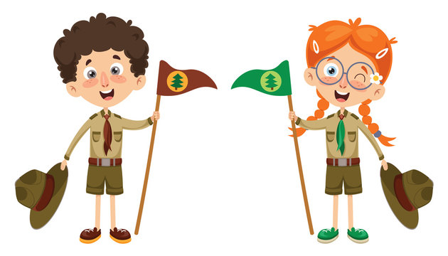 Vector Illustration Of A Scout Kid