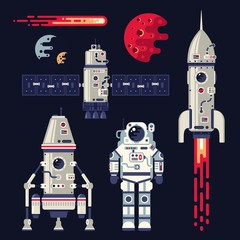 Rocket, space ship, satellite, spacesuit, planet and comet - set of cosmic design elements