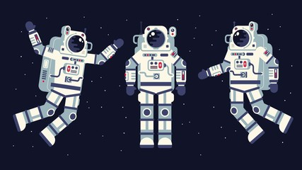 Space suit in different poses. Easy to edit. Flat style.