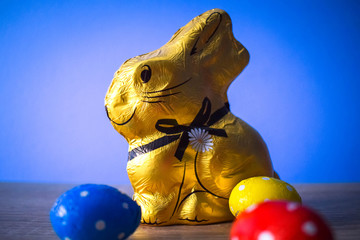 Chocolate Easter eggs with Chocolate Bunny for Holiday