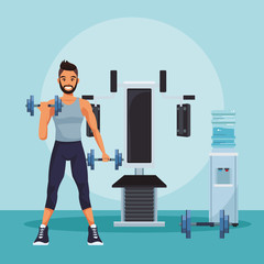 Young and fitness man lifting dumbbells at gym vector illustration graphic design