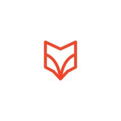 fox head abstract shield logo line art outline monoline