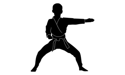 silhouette boy is practicing karate