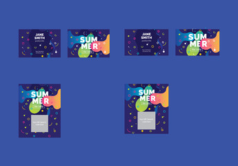 Colorful Abstract Business Card Layout Set