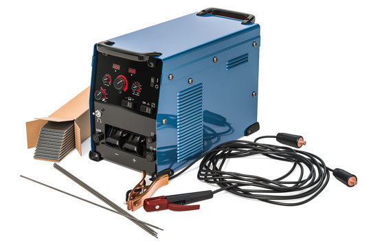 Welding machine, welding sticks with stick electrode holder, work cable and clamp, 3D rendering