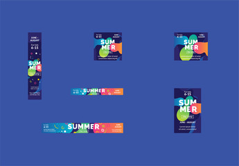 Colorful Abstract Web Banner Layout Set