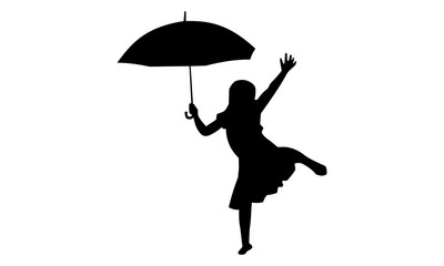 silhouette of the girls' expression of pleasure with an umbrella when it rains