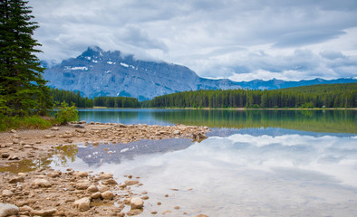 Two Jack Lake in Banff National Park , Canada in Cloudy day